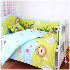Promotion! 7pcs Lion Baby Crib Bedding set Embroidered Comforter Bumpers (bumper+duvet+matress+pillow)