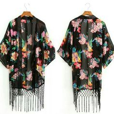 Kimono Cardigan  Black Floral Kimono Cardigan New Condition No trades/No Holds but open to negotiations! Sweaters Cardigans