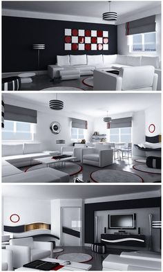 I love black, white and red and especially the wall art checkerboard