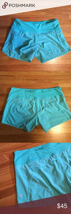 Lululemon shorts: size 10 These comfortable sea foam green shorts are lululemon size 10. Would love to keep them but just a little too big. Worn maybe twice. No signs of wear! lululemon athletica Shorts