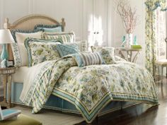 Croscill Home Fashions Corfu 4-Piece King Comforter Set, Sky Blue by Crocsill. Save 17 Off!. $248.84. Dry clean only. 100-percent Virgin polyester fill comforter with 2-inch loft. King set includes 1 comforter, 1 bed skirt and 2 king shams. The floral comforter features welcoming blossoms in blue and green entwined with climbing vines on a background of soft ivory jacquard, a chocolate ribbon accent, mitered corners, a tri-color twist cord trim and an elegant striped print on the reverse…