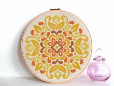 Geometric Cross Stitch traditional flower ornament ❤ ❤ ❤ You can always find and download them here: You> Purchases and reviews ❤ PATTERN DETAILS ❤ PDF Pattern Stitches: 113 W x 113 H Fabric: 14 count, 28ct, Any fabric you like Floss: DMC (4 colors) Size: 20.50 x 20.50 cm/ 8.21 x