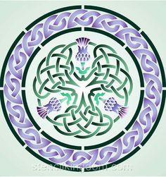 Drei Distel Celtic Circle Stencil Designs von Stencil Kingdom Source by AmyOrganize Celtic Quilt, Celtic Symbols, Celtic Art, Celtic Dragon, Celtic Knots, Stencil Patterns, Stencil Designs, Zentangle Patterns, Thistle Tattoo
