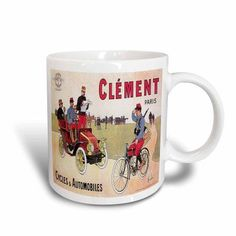 3dRose Vintage Clement Paris Cycles and Automobiles Advertising Poster, Ceramic Mug, 15-ounce