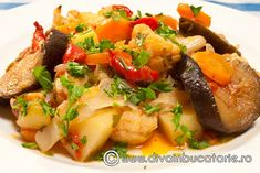Romanian Food, Vegetable Recipes, Cooking Recipes, Vegan, Chicken, Vegetables, Ethnic Recipes, Sweet, Low Calories