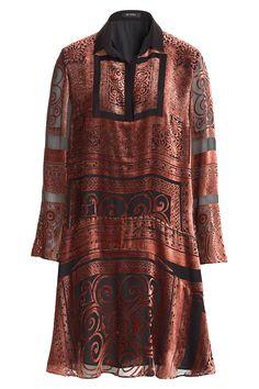 Etro Velvet Burnout Silk Dress - Red in Brown
