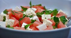 Fresh watermelon salad, with feta, mint, olive oil and lime. Perfect as a side dish or as a healthy lunch idea.