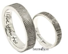 We're now leaning towards this set. Set of Love Note Fingerprint Wedding Rings with Exterior Wrapped Prints in Sterling Silver - Custom handmade fingerprint jewelry by Brent&Jess Titanium Wedding Rings, Custom Wedding Rings, Wedding Rings For Women, Gold Wedding, Dream Wedding, Elegant Wedding, Fingerprint Wedding Bands, Fingerprint Jewelry, Ring Ring