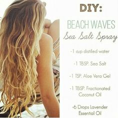 To naturally dye your hair blonde as pictured add a few drops of lemon essential oil to the recipe and get your hair bleached under the sun.