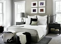 Traditional and Modern Style Combination for Home Interior: Black, White And Gray Bedroom With Tradional Outlook