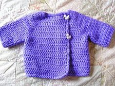 Kelly's Sweater for Baby-Easy crochet pattern. I think I will add buttons all the way down and incorporate stripes somehow