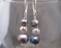 Iridescent Blue Pearl Wire Wrapped Earrings by Banba on Etsy, $15.00