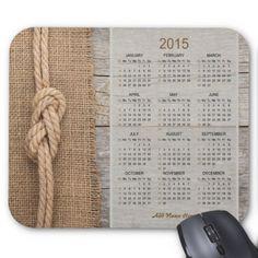 Rustic Barnboard Burlap Calendar Mousepad 2015