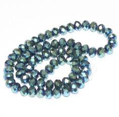 10 x perle electroplate Vert irise 8x6mm, en Verre, Forme ovale a facette -- PVE-0020.1 : Perles en Verre par crehando