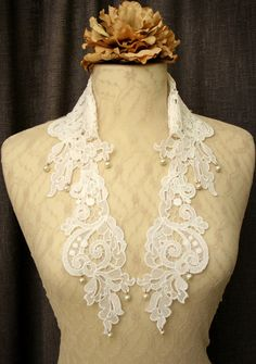 Lace collar necklace.  Hey, I found this really awesome Etsy listing at https://www.etsy.com/listing/99851111/lace-collar-necklace-louisa-white-ivory