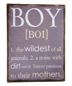 Take a look at this Boy Definition Wall Sign today!