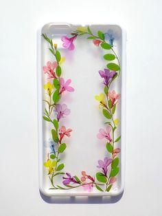Annys workshop手作押花手機保護殼,適用於iphone 6/6S plus, 藤蔓 (白邊), Pressed flower phone case, vine