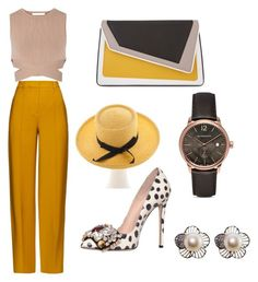 """""""yellow brown"""" by memowitta on Polyvore featuring âme moi, GEDEBE, Jonathan Simkhai, ADAM, Burberry and Christian Dior"""
