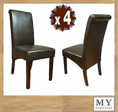 4 x Scroll Roll Back Leather Brown Dining Chairs Dark Legs