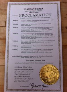 Indiana's Proclamation for Food Allergy Awareness Week May 11-17,2014