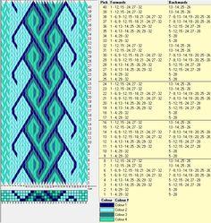 32 tarjetas, 4 colores, repite cada 8 movimientos // sed_244 diseñado en GTT༺❁ Inkle Weaving, Inkle Loom, Card Weaving, Weaving Art, Tablet Weaving Patterns, Weaving Designs, Loom Patterns, Iris Folding Pattern, Finger Weaving
