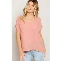 Woven top featuring a scooped neckline. Short sleeves with banded cuffs and cold shoulder accents. Relaxed hemline with single stitching. Unlined. Lightweight.100% PolyesterHand Wash ColdImportedModeled in size Small