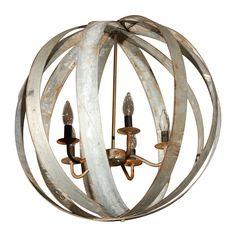 Metal Sphere Chandelier  United States  20th Century  Elegant, industrial chandelier made from repurposed vintage wine barrel ties.