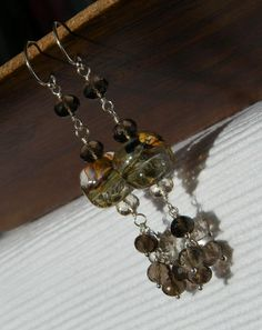 Shaded Smoky Quartz Earrings by CloverBlueToo on Etsy, $54.00