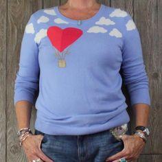 Cute Talbots M L size Sweater Blue Heart Balloon Clouds Soft Lightweight Womens