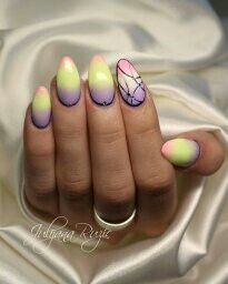 Ombre with gel Studded Nails, Best Salon, Gemstone Rings, Turquoise, Creative, Beauty, Yellow, Green Turquoise, Beauty Illustration