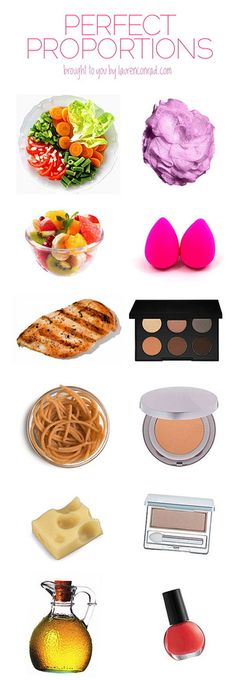 Vegetables = 1 cup (cooked), 1 ½ cups (raw) = Loofah Fruit = 1 cup = 2 Beauty Blenders Meat  Fish = 3 ounces = 6-pan Eyeshadow Compact