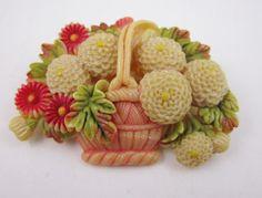 Vintage Celluloid Flower Basket Novelty Brooch Old Floral Pin Marked Japan