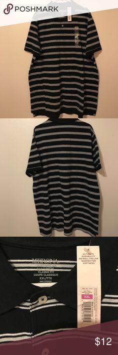 Men's XXL Ult Polo Ebony Stripe Merona Men's Size XXL Ultimate Supreme Classic Fit Polo Black & White Brand New With Tags Merona Shirts Polos