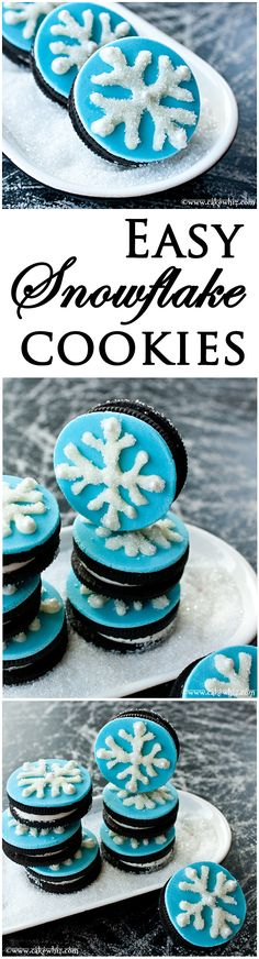 Easy SNOWFLAKE OREO COOKIES that even kids can make. Great for Christmas or winter wonderland birthday parties. From cakewhiz.com