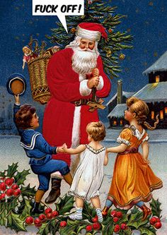 Fuck Off Santa Rude Christmas Card