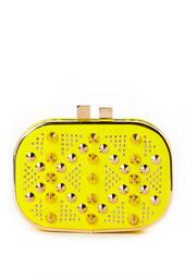 Sunset Boulevard Studded Clutch in Yellow