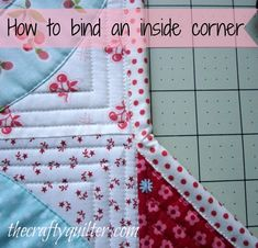Making a swoon block into a table topper and how to Bind an Inside Corner @ The Crafty Quilter Quilting Tips, Quilting Tutorials, Machine Quilting, Quilting Projects, Quilting Designs, Sewing Tutorials, Sewing Projects, Beginner Quilting, Quilting Room