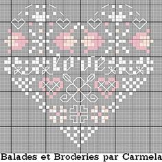 Cross-stitch Love Heart... no color chart available, just use pattern chart as your color guide.. or choose your own colors... coeur-love.jpg