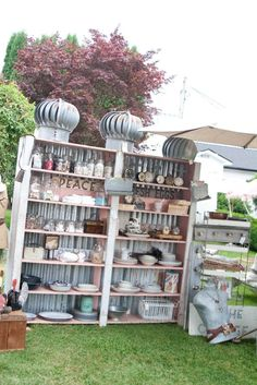 Bookshelf with galvanized corrugated backing!! Molly Mo's: 2012 Antique Faire Pics - Part 1