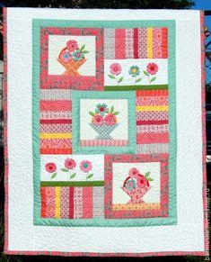 """Купить Лоскутное детское покрывало (одеяло) """"Соберу я корзинку цветов"""" - лоскутное шитье, лоскутное одеяло"""