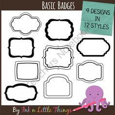 Basic Badges - Digital Frames Clip Art from Ink n Little Things on TeachersNotebook.com - (108 pages) - This set includes 108 basic badges. There are 9 frame designs in twelve styles.