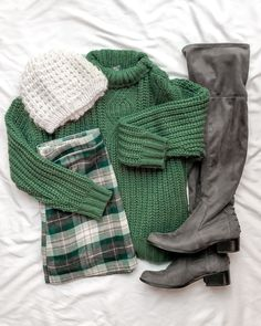 Winter fashion, green sweater, emerald green, plaid mini skirt over the knee boots, grey boots, flat lay fashion