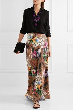 Etro - Printed Silk Crepe De Chine Maxi Skirt - Brown - IT46