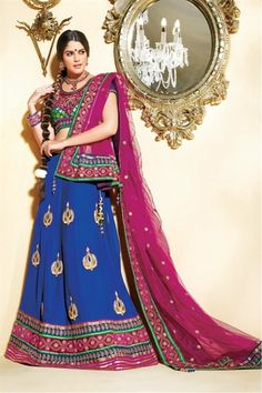 Blue & pink lehenga choli in dual fabric