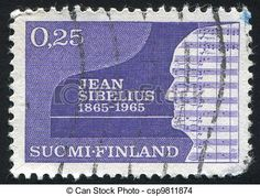 Finland - circa stamp printed by finland, shows silhouette of jean sibelius, circa Classical Music Composers, Romantic Period, Stamp Printing, Postage Stamps, Silhouette, Teaching, Musicians, Prints, Seals