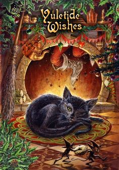Greetings Card suitable for the winter solstice and Pagan festival of Yule. The message on the left inner panel reads 'Merry Yule'. The message is repeated, in smaller text, in several different languages. Pagan Christmas, Christmas Cats, Winter Christmas, Winter Holidays, Vintage Christmas, Merry Christmas, Christmas Time, Zombie Christmas, Christmas Specials