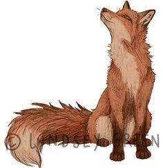 Red Fox Art Print by Lyndsey Green Illustration - X-Small Animal Drawings, Art Drawings, Fuchs Illustration, Fuchs Tattoo, Fox Drawing, Desenho Tattoo, Fox Art, Red Fox, Digital Prints
