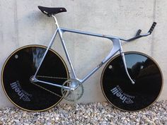 Another image of a classic mid 80's Cinelli Laser with a one piece bullhorn bar/ integrated quill stem. Definitely a bike that was way head of its time!