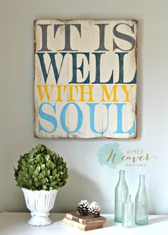 It is well with my soul  Unique hand-painted sign made from reclaimed barn wood, comes ready to hang with sawtooth hangers on the back. Please keep in mind that because this sign is made from reclaimed barn wood, no two will ever be alike, and it will not look exactly like the photo.  Measures approx. 21w x 24h CURRENT LEAD-TIME UNTIL SIGN IS READY TO SHIP: 4 WEEKS Sign is shown in white wood with slate gray, dark teal, yellow and light blue lettering. PLEASE NOTE YOUR COLOR PREFERENCE IN…