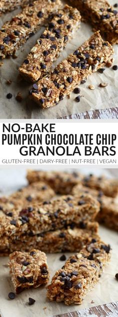 No-Bake Pumpkin Chocolate Chip Granola Bars - The Real Food Dietitians (carb free snacks protein bars) Dairy Free Granola Bars, Granola Sin Gluten, Vegan Granola Bars, Chocolate Chip Granola Bars, Pumpkin Chocolate Chips, Nut Free Granola Bar Recipe, Chocolate Brownies, Lunch Snacks, Healthy Snacks